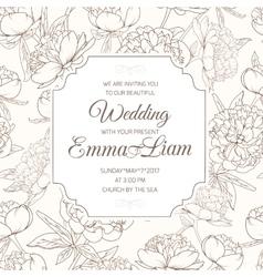 Wedding invitation card peony paeonia flower brown vector image vector image