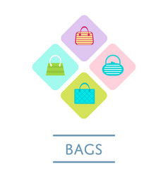 bags shop icon set in flat design vector image vector image