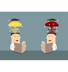 Businessmen with brains explosions in heads vector image vector image