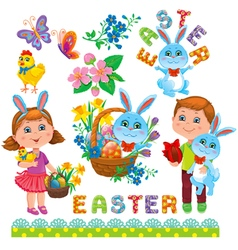 Easter set of design vector image