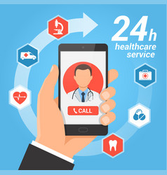 healthcare mobile service concept vector image vector image