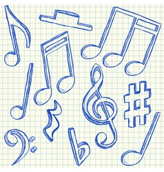 Musical notes doodles vector image vector image