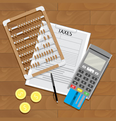business tax and banking paperwork vector image vector image