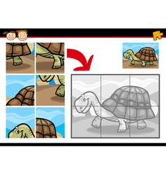 cartoon turtle jigsaw puzzle game vector image