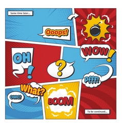 comic book page template with cartoon vector image vector image