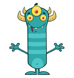 happy horned blue monster cartoon character vector image