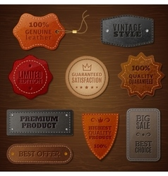 Leather Label Set vector image vector image