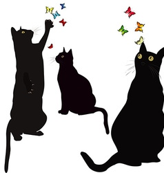 Black cats silhouettes and colorful butterlies vector image vector image