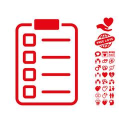 examination icon with love bonus vector image vector image