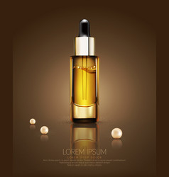 glass vial with professional facial serum with vector image