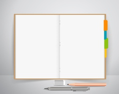 Note book with pen and pencil Business working vector image