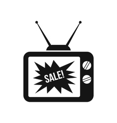 TV screen with Sale text icon simple style vector image vector image