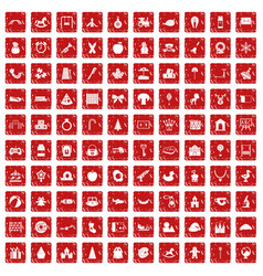 100 nursery school icons set grunge red vector