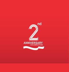 2 anniversary logotype flat design white color vector