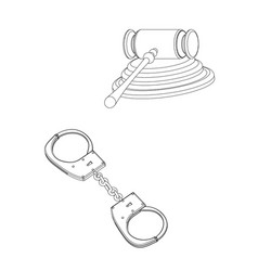 3d model of handcuffs and judges gavel on a white vector image