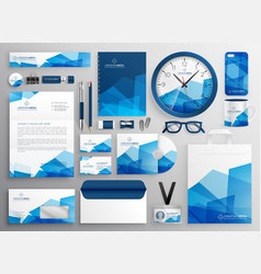 Abstract blue business stationery set for your vector