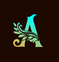 Abstract floral a alphabet logo element vector
