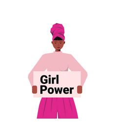 African american girl activist holding poster vector
