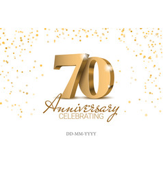 anniversary 70 gold 3d numbers vector image