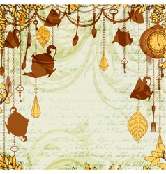 Antique background with tea party theme vector image