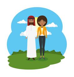 arabian couple in the landscape vector image
