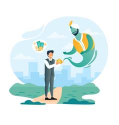 Big money dream path to success goal achievement vector