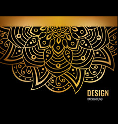 Black banner with gold beautiful mandala golden vector