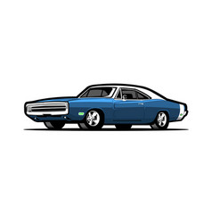 blue 69 american muscle car isolated vector image