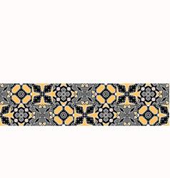 Bold hand drawn patchwork quilt geo border vector