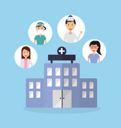 Building hospital doctors physician staff vector