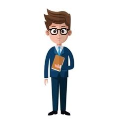Cartoon business man glasses folder suit style vector