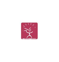 cartoon man and megaphone logo design vector image