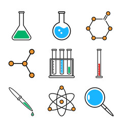 chemistry icons set collection of outline symbols vector image