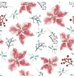 christmas holly berries and poinsettia seamless vector image