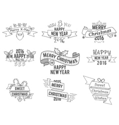 Christmas New Year and Winter wishes ribbons vector image