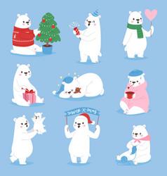 Christmas white bear animal cute beauty vector