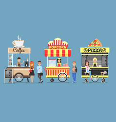 Coffee popcorn and pizza booths colorful icons vector