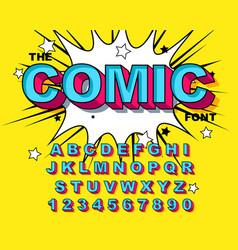 Comic alphabet retro blue letters numbers vector