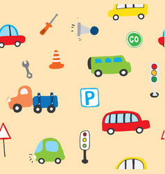 Cute cars seamless pattern cartoon transportation vector