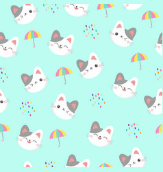cute kitten face seamless pattern vector image