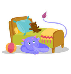 cute purple monster with tail hiding under the bed vector image