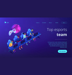 cybersport team isometric 3d landing page vector image