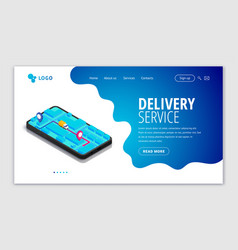 Delivery service web site template vector