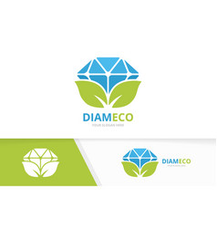 diamond and leaf logo combination jewelry vector image