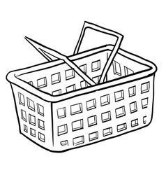 doodle shopping basket vector image