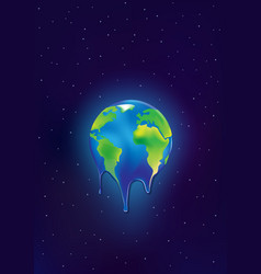 Earth is melting on a dark blue stars background vector