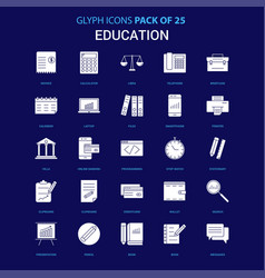 Education white icon over blue background 25 icon vector