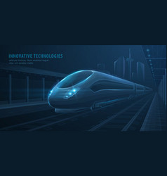 fast express passenger train on city station vector image