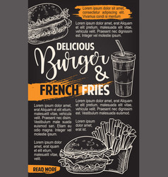 Fast food burgers menu sketch poster vector