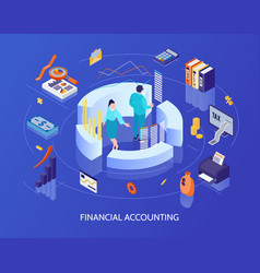 Financial accounting isometric vector